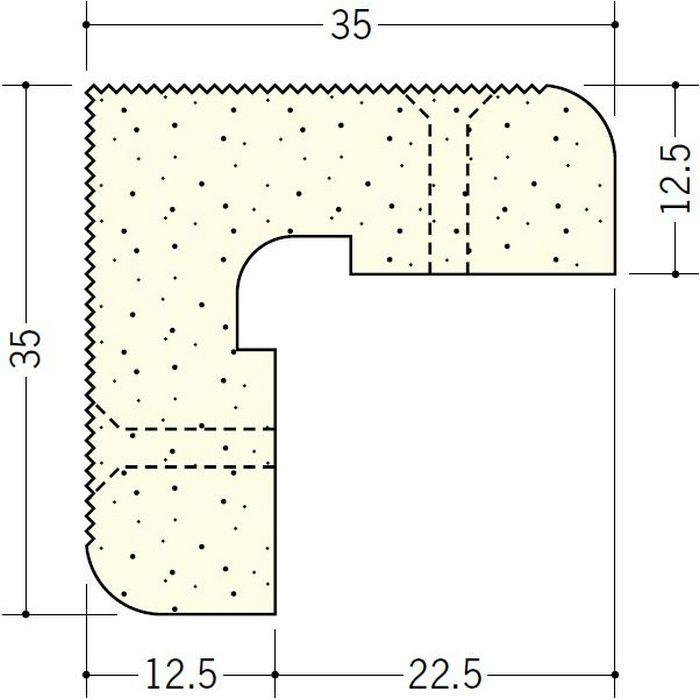 ペンキ・クロス下地材 出隅 ビニール PSコーナー12.5mm ミルキー 2.6m  01282