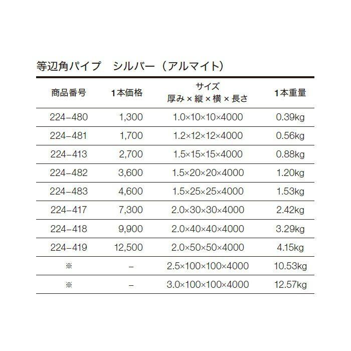 等辺角パイプ アルミ材 224-418 シルバー(AL)