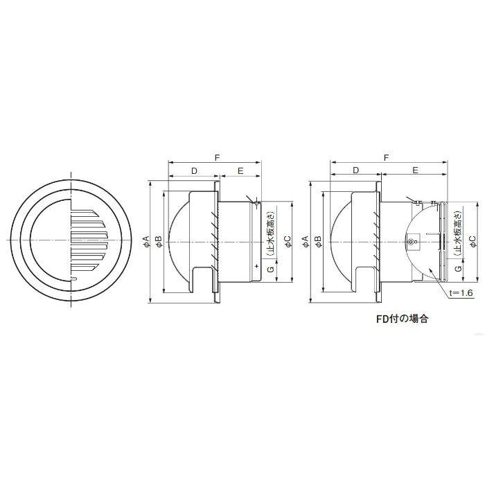 防雨フード付ガラリ KS-8860SHD 20個/ケース