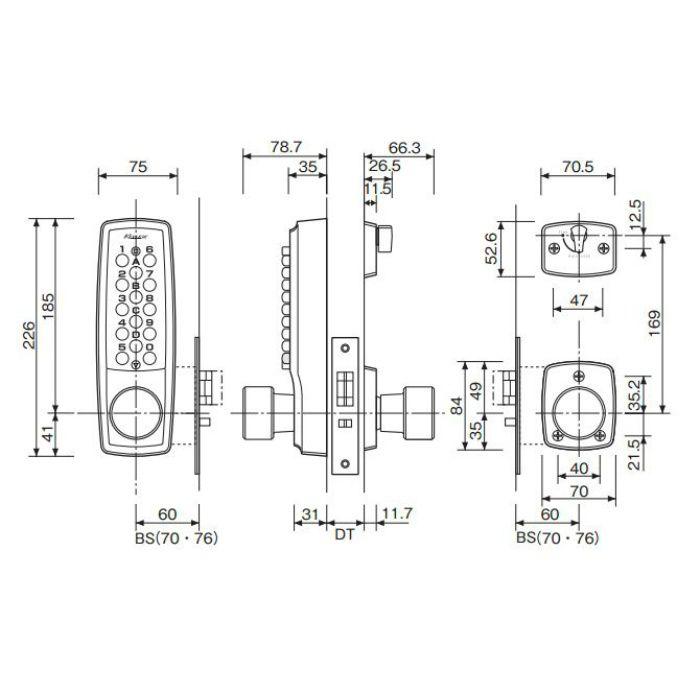 キーレックス 2100 ノブ自動施錠鍵付 22403M WB BS60 ホワイトブロンズ 6セット/ケース