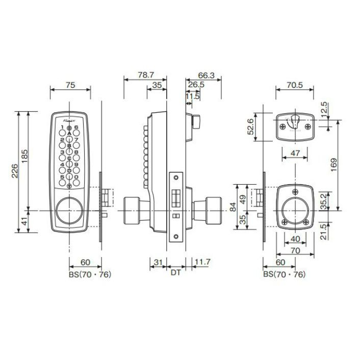 キーレックス 2100 ノブ 自動施錠 22403 WB BS60 ホワイトブロンズ 6セット/ケース