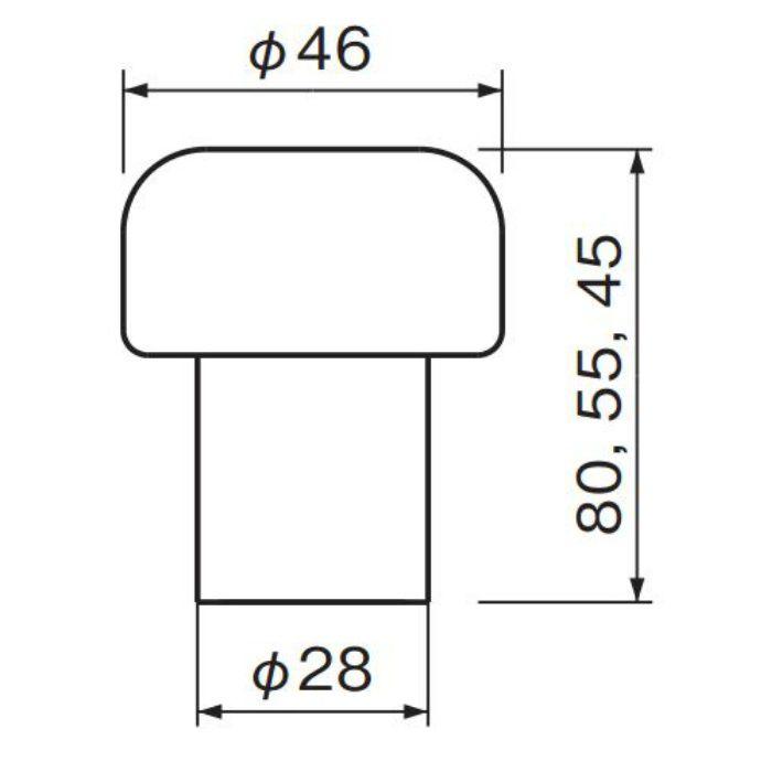 マッシュルーム戸当り 80 (磨きクリア) RB-8 金 6個/ケース