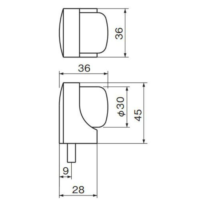 アーチ戸当り 床付 45 RB-15 クローム 6個/ケース