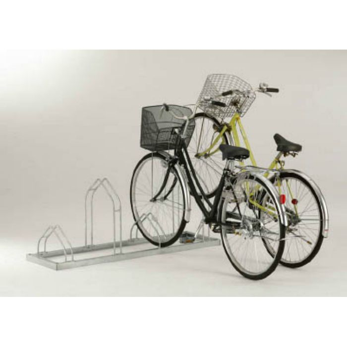 平置き自転車ラック前輪差込式サイクルスタンド 6台収容ピッチ400