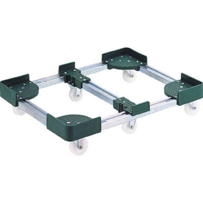 FCD63080 伸縮式コンテナ台車 内寸300-400X800-900 スチール製