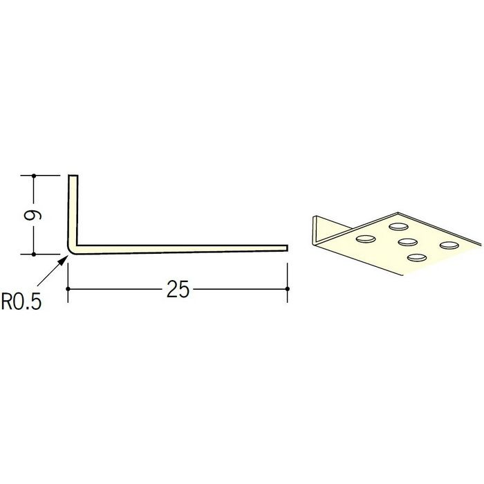 ペンキ・クロス下地材 ドア廻り ビニール L型コーナー9×25穴あき ミルキー 2.5m  01291-1