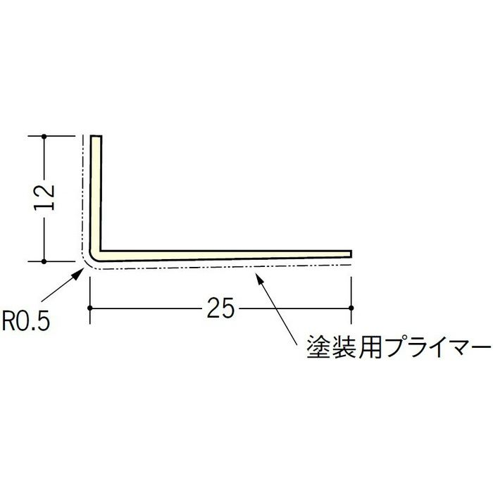 ペンキ・クロス下地材 ドア廻り ビニール L型コーナ12×25プライマー付 ミルキー 2.5m  01313-1