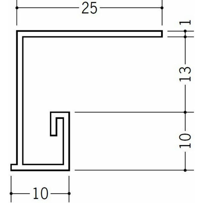 ?型見切縁 ビニール 見切 PLM-13 ホワイト 2m  36198