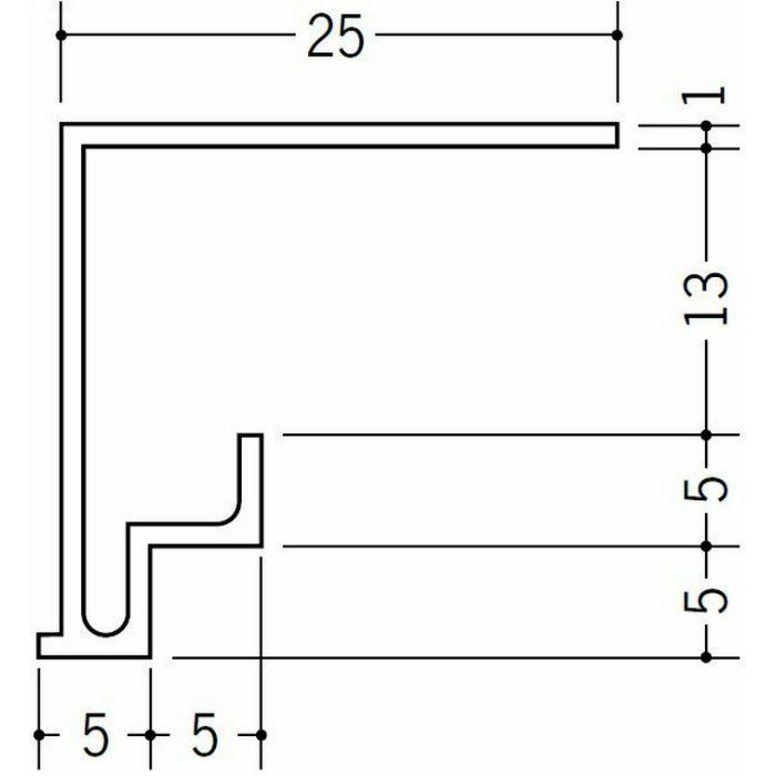 ?型見切縁 ビニール 見切 FW-13 ホワイト 2m  36140
