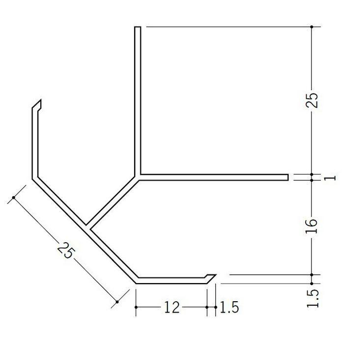 出隅ジョイナー ビニール DPS-15.5 ホワイト 2.73m  39005