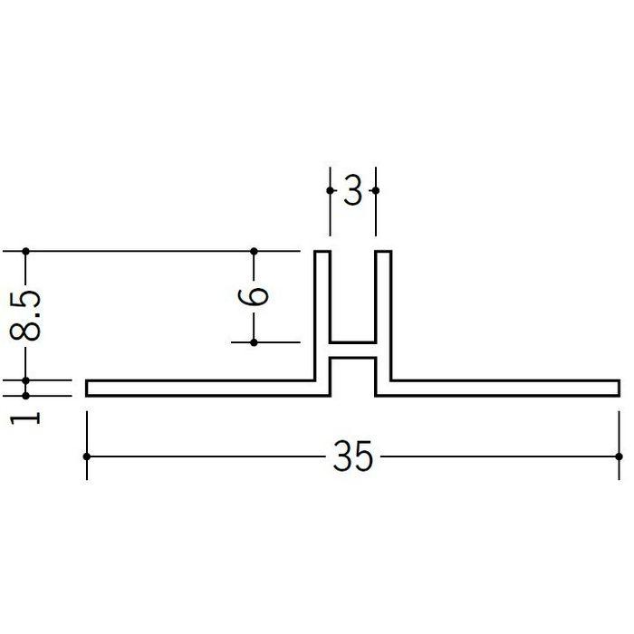 ハット型ジョイナー ビニール PHW-8 ホワイト 2.5m  37117-1