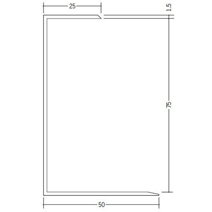 断熱材用ジョイナー コ型 ビニール コ型75 ホワイト 2.73m  35096-1
